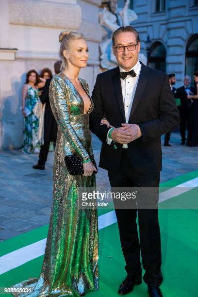 Vice Chancellor HeinzChristian Strache with his wife Philippa during the Fete Imperiale 2018 on June 29 2018 in Vienna Austria