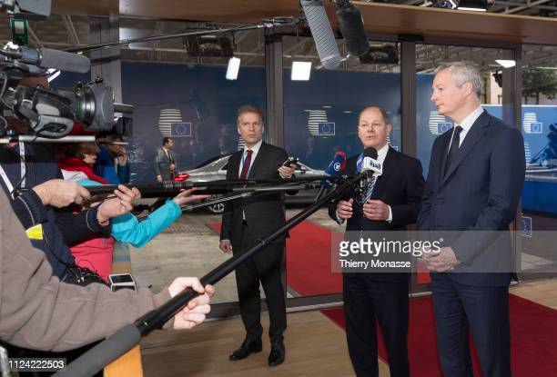 Vice Chancellor of Germany and Federal Minister of Finance Olaf Scholz and the French Minister of the Economy and Finance Bruno Le Maire are talking...