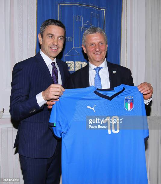 FIGC Vice Commissioner Alessandro Costacurta and ANCI football team head coach Mirko Patron pose during the Italian Football Federation and ANCI...