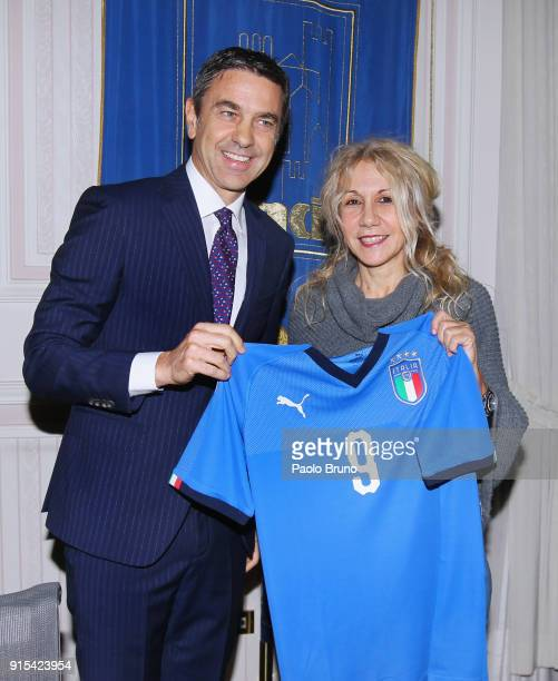 FIGC Vice Commissioner Alessandro Costacurta and ANCI General Secretary Veronica Nicotra pose during the Italian Football Federation and ANCI press...