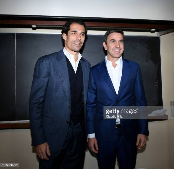 Vice Commissioner Alessandro Costacurta and LEGA Calcio Vice Commissioner Bernardo Corradi attend Italian Football Federation '2019 UEFA European...