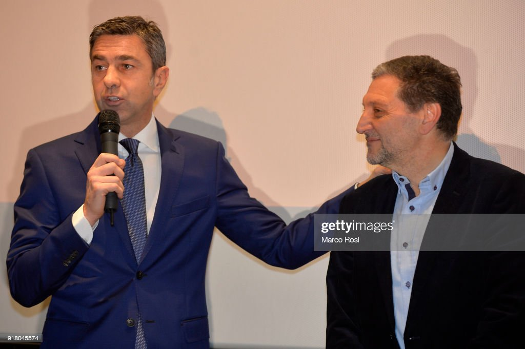 Vice Commissioner Alessandro Costacurta (L) and Santo Rullo are seen during a meeting with students on February 13, 2018 in Rome, Italy.