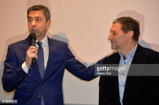 FIGC Vice Commissioner Alessandro Costacurta and Santo Rullo are seen during a meeting with students on February 13 2018 in Rome Italy