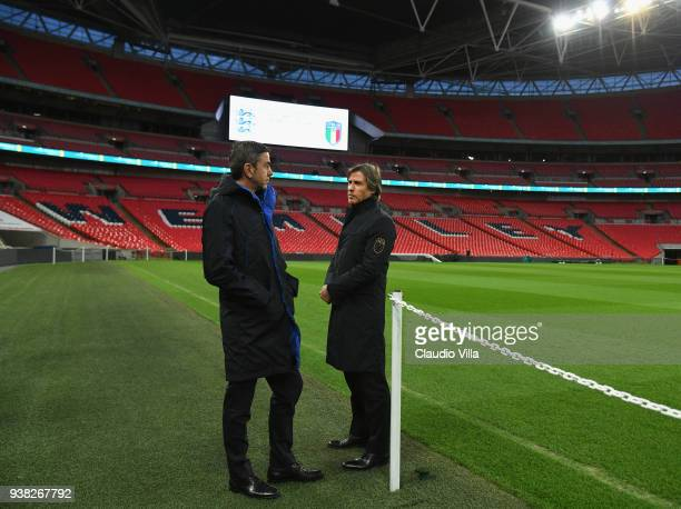 Vice Commissioner Alessandro Costacurta and Team Manager Italy Gabriele Oriali chat during Italy walk around at Wembley Stadium on March 26 2018 in...