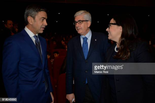 FIGC Vice Commissioner Alessandro Costacurta and Vito Tisci during a meeting with students on February 13 2018 in Rome Italy