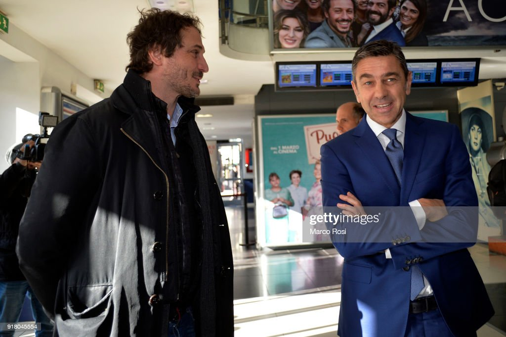 Vice Commissioner Alessandro Costacurta (R) attends a meeting with students on February 13, 2018 in Rome, Italy.