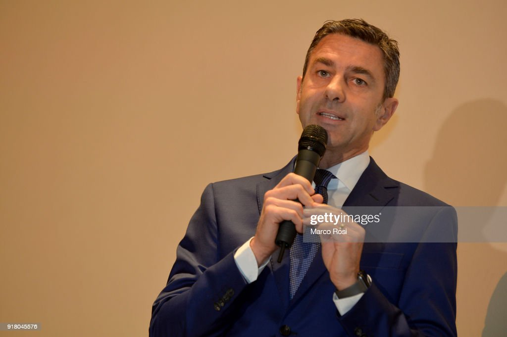 Vice Commissioner Alessandro Costacurta attends a meeting with students on February 13, 2018 in Rome, Italy.