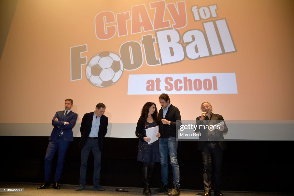 Vice Commissioner Alessandro Costacurta (L) attends a meeting with students on February 13, 2018 in Rome, Italy.