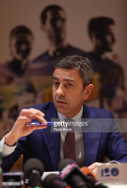 Vice Commissioner Alessandro Costacurta attends the FIGC press conference '120th Anniverary' of the Italian Football Federation on March 14 2018 in...