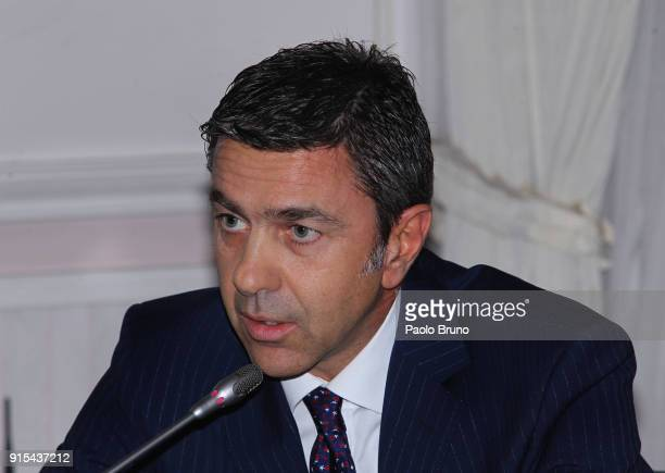 Vice Commissioner Alessandro Costacurta attends the Italian Football Federation and ANCI press conference on February 7 2018 in Rome Italy