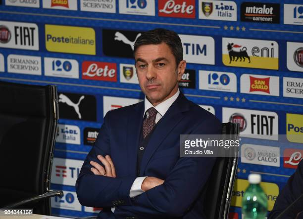Vice Commissioner Alessandro Costacurta looks on during a press conference at Centro Tecnico Federale di Coverciano on March 19 2018 in Florence Italy