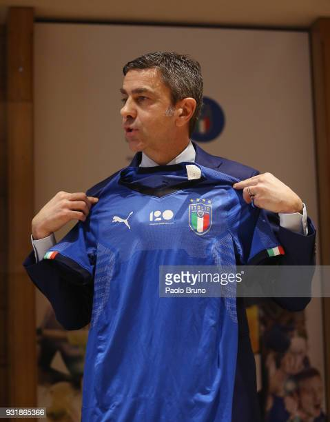 Vice Commissioner Alessandro Costacurta poses during the FIGC press conference '120th Anniverary' of the Italian Football Federation on March 14 2018...