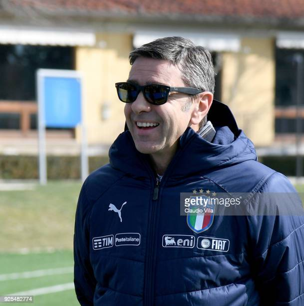 Vice Commissioner Alessandro Costacurta smiles during the frienldy match between Italy and Fiorentina U19 at Coverciano on February 28 2018 in...