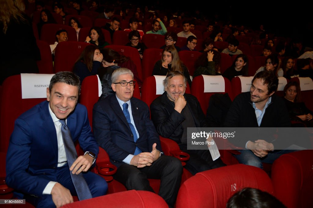 Vice Commissioner Alessandro Costacurta, Vito Tisci, Santo Rullo and Volgango De Biasi are seen during a meeting with students on February 13, 2018 in Rome, Italy.