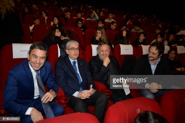 FIGC Vice Commissioner Alessandro Costacurta Vito Tisci Santo Rullo and Volgango De Biasi are seen during a meeting with students on February 13 2018...