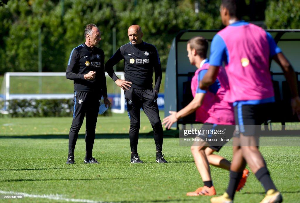 Vice Head Coach Marco Domenichini and Head Coach of FC Internazionale Luciano Spalletti look during a FC Internazionale Training Session at Appiano Gentile on October 6, 2017 in Como, Italy.