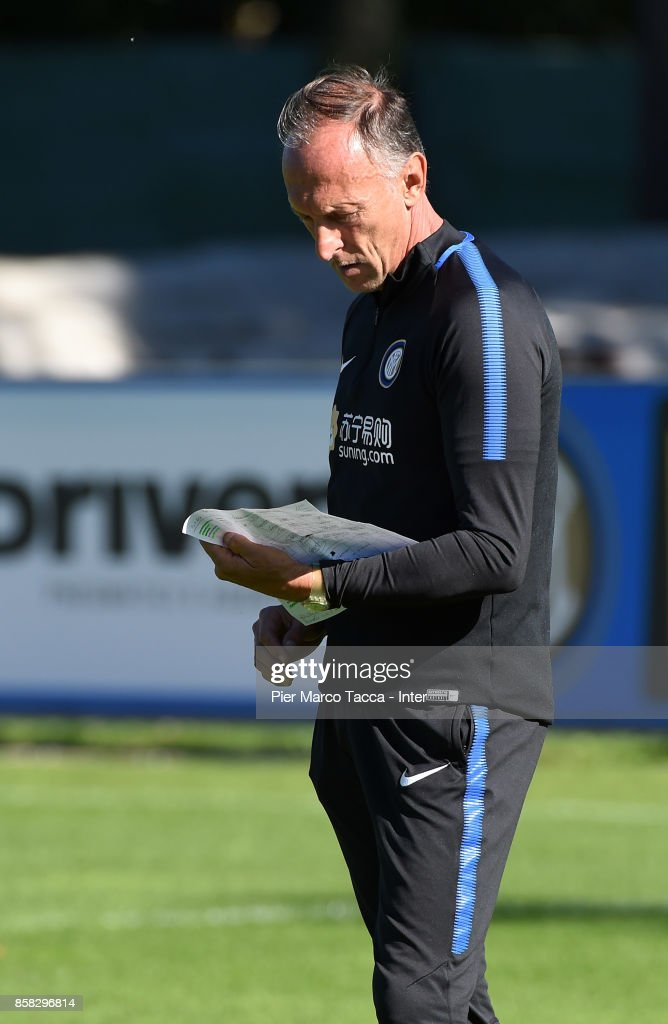 Vice Head Coach Marco Domenichini looks during a FC Internazionale Training Session at Appiano Gentile on October 6, 2017 in Como, Italy.