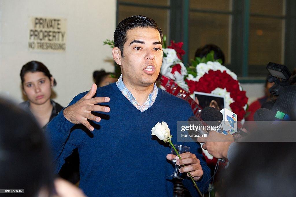 Vice Mayor of Long Beach Robert Garcia speaks at the Candlelight Vigil for Singer Jenni Rivera on December 10, 2012 in Long Beach, California.