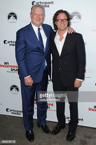 Vice President Al Gore and Director Davis Guggenheim arrive at the 10th Anniversary Of An Inconvenient Truth at Smogshoppe on May 24 2016 in Los...