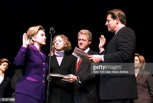 Vice President Al Gore and Hillary Rodham Clinton recreate her swearingin as New York's junior senator as President Bill Clinton and daughter Chelsea...