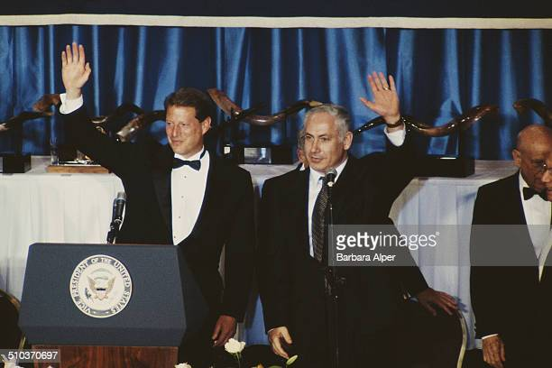 US Vice President Al Gore and Israeli Prime Minister Benjamin Netanyahu attend a dinner marking the 40th anniversary of the Conference of Presidents...