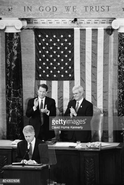 Vice President Al Gore and Speaker of the House Newt Gingrich applaud during President Bill Clinton's State of the Union address, Washington DC,...