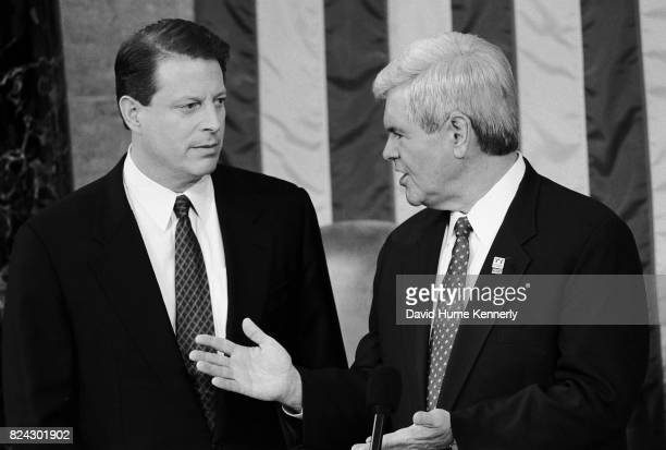 Vice President Al Gore and Speaker of the House Newt Gingrich at the State of the Union Washington DC January 27 1998