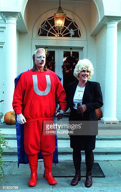 Vice President Al Gore and wife Tipper Gore pose in Halloween costumes 31 October in Washington DC Gore dressed as the cartoon character Underdog and...