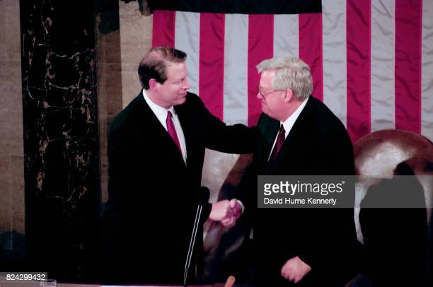 Vice President Al Gore greets the new Speaker of the House Dennis Hastert during President Bill Clinton's State of the Union Speech before a joint...