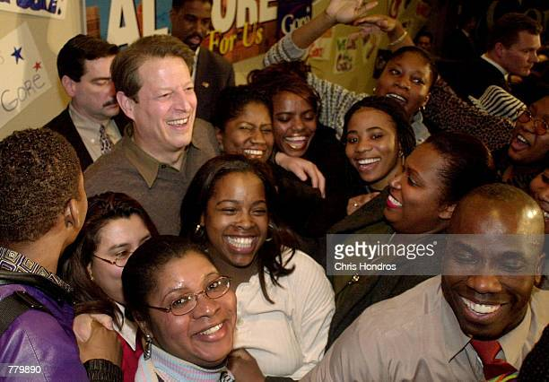 Vice President Al Gore laughs during an appearance at Medgar Evers College in Brooklyn New York February 14 2000 Gore spoke on educational funding...