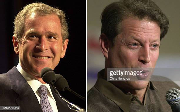 In this composite image a comparison has been made between former US Presidential Candidates George W Bush and Al Gore In 2000 George W Bush won the...