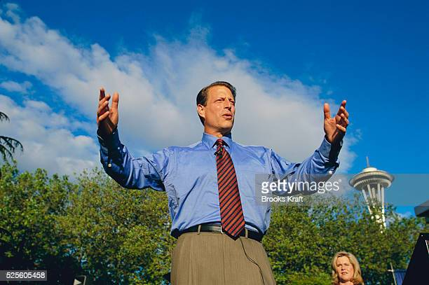 Vice President Al Gore makes a speech during a stop on his presidential campaign. Gore lost the 2000 Presidential Election to George W. Bush after a...