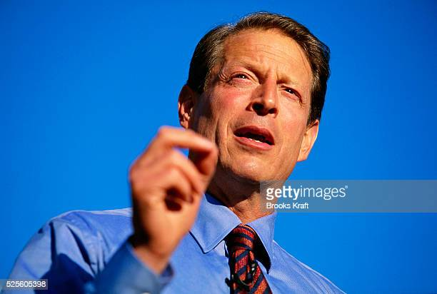 Vice President Al Gore makes an appearance during his presidential campaign. Gore lost the 2000 Presidential Election to George W. Bush after a...