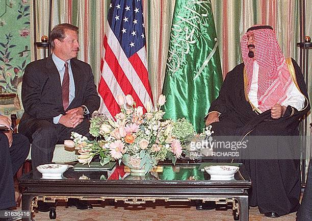Vice President Al Gore meets with Saudi Crown Prince Abdallah ibn Abdel Aziz at Blair House 24 September in Washington DC The Crown Prince met...