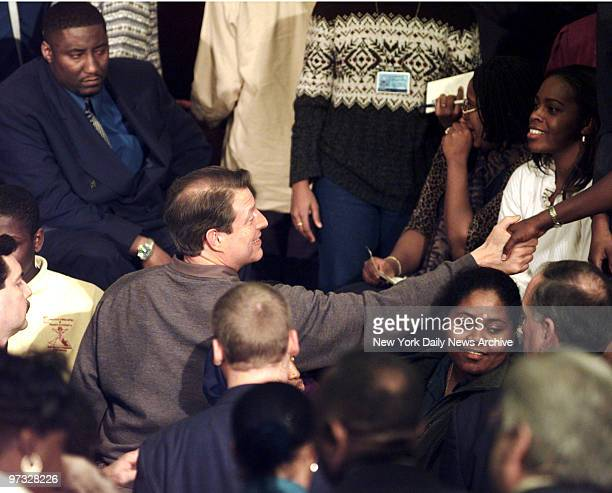 Vice President Al Gore reaches out to crowd during a presidential campaign stop at Medgar Evers College in Brooklyn