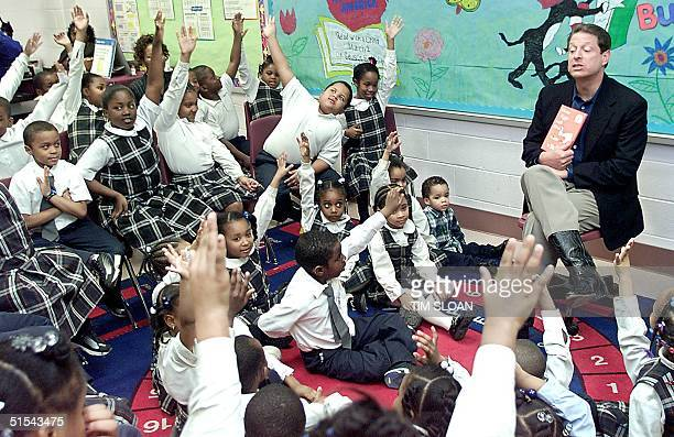 Vice President Al Gore reads 'Green Eggs and Ham' by Dr Seuss to students at Francis Scott Key Elementary School commemorating 'Read Across America...