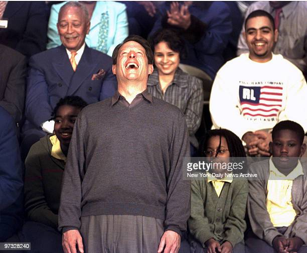 Vice President Al Gore roars with laughter at a joke about his basketball abilities during a presidential campaign stop at Medgar Evers College in...