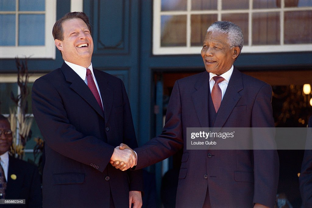 Vice President Al Gore Shaking Hands with Nelson Mandela