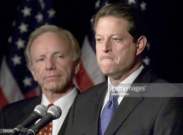 Vice President Al Gore with Sen Joseph Lieberman by his side makes a statement to reporters November 8 2000 in Nashville TN A sharply and bitterly...
