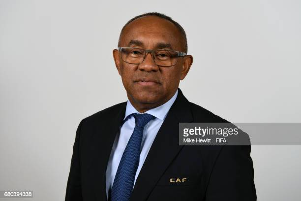 Vice President and CAF President Ahmad Ahmad poses for a portrait ahead of the 67th FIFA Congress on May 8 2017 in Manama Bahrain