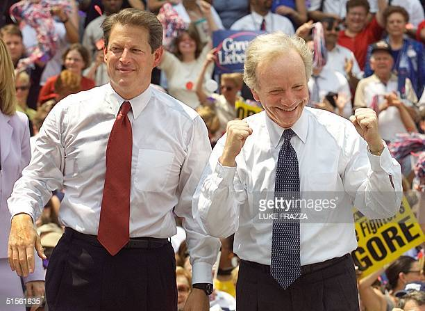 Vice President and Democratic presidential Candidate Al Gore and US Senator Joseph Lieberman DCT appear at a rally where Gore formally announced...