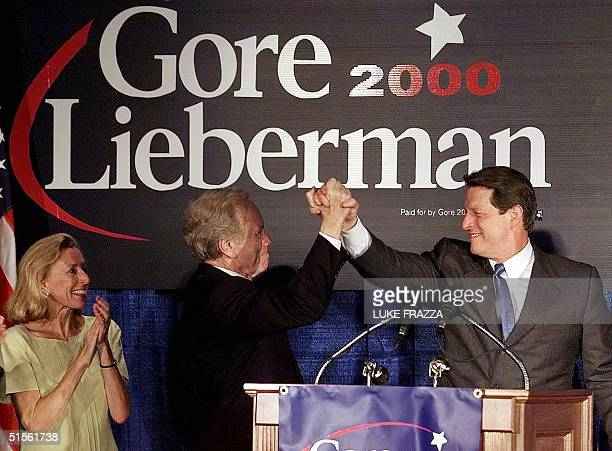 Vice President and Democratic presidential candidate Al Gore his running mate US Senator Joseph Lieberman and Lieberman's wife Hadassah attend a...