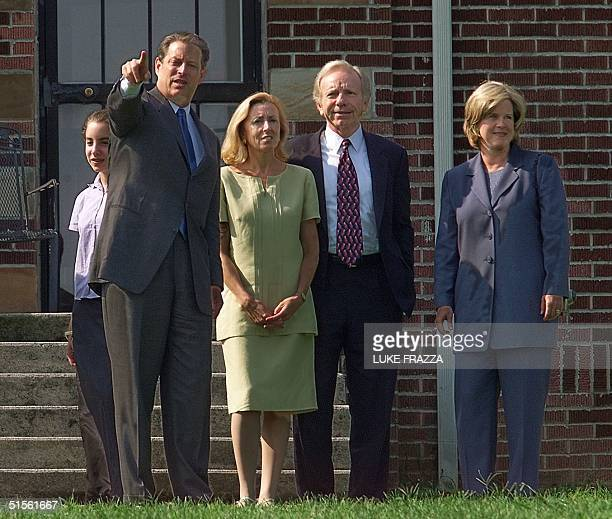 Vice President and Democratic presidential candidate Al Gore his wife Tipper his running mate US Senator Joseph Lieberman DCT his wife Hadassah and...