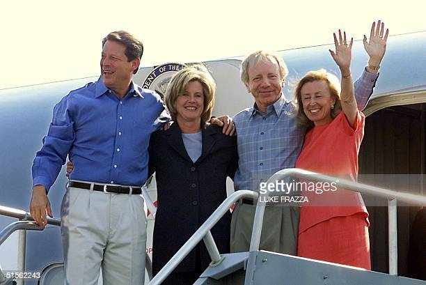 Vice President and Democratic presidential candidate Al Gore wife Tipper running mate US Senator Joe Lieberman DCT and wife Hadassah wave from the...
