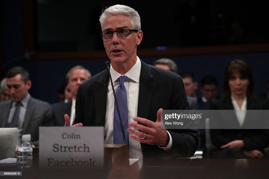 Vice President and General Counsel for Facebook Colin Stretch testifies during a hearing before the House (Select) Intelligence Committee November 1, 2017 on Capitol Hill in Washington, DC. The committee held a hearing on 'Russia Investigative Task Force: Social Media Companies.'