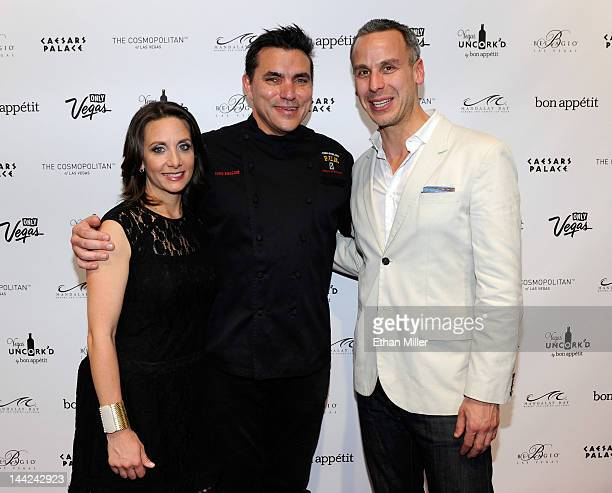 Vice President and Publisher of Bon Appetit magazine Pamela Drucker Mann chef Todd English and EditorinChief of Bon Appetit magazine Adam Rapoport...