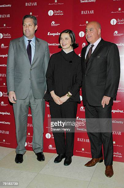 Vice president and publisher Town Country magazine Jim Taylor actress Isabella Rossellini and associate publisher of Harpers Bazaar Kevin W Martinez...