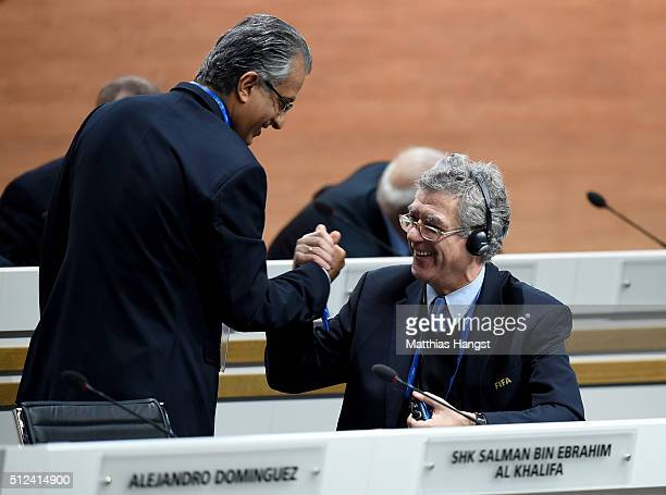 Vice President Angel Maria Villar Llona shakes hands with FIFA Presidential candidate Sheikh Salman Bin Ebrahim Al Khalifa prior to the Extraordinary...