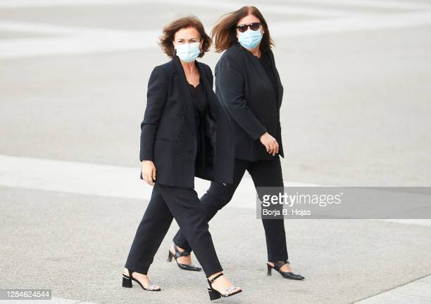 Vice president Carmen Calvo arrives to a mass to tribute the victims for coronavirus at La Almudena Cathedral on July 06 2020 in Madrid Spain