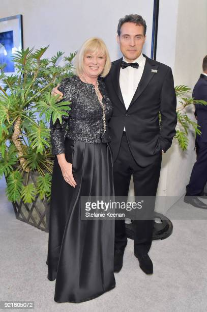 Vice President Catherine Adair and actor Rufus Sewell attend the Costume Designers Guild Awards at The Beverly Hilton Hotel on February 20 2018 in...